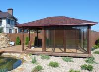 Закрытая застекленная четырехгранная прямоугольная садовая деревянная беседка на 20 человек ОАЗИС